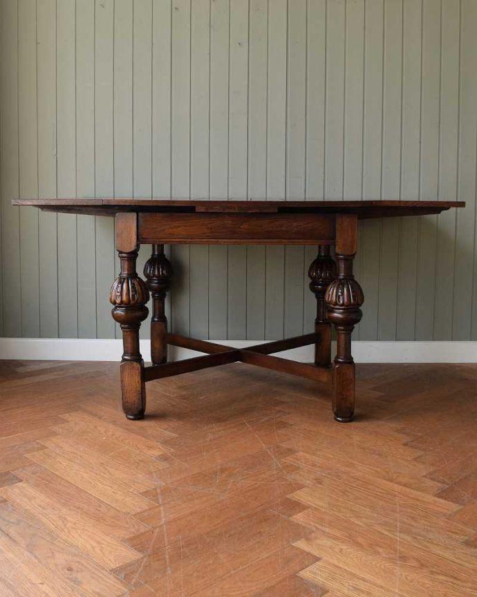 q-1608-f アンティークドローリーフテーブルの横(天板両方広げて)