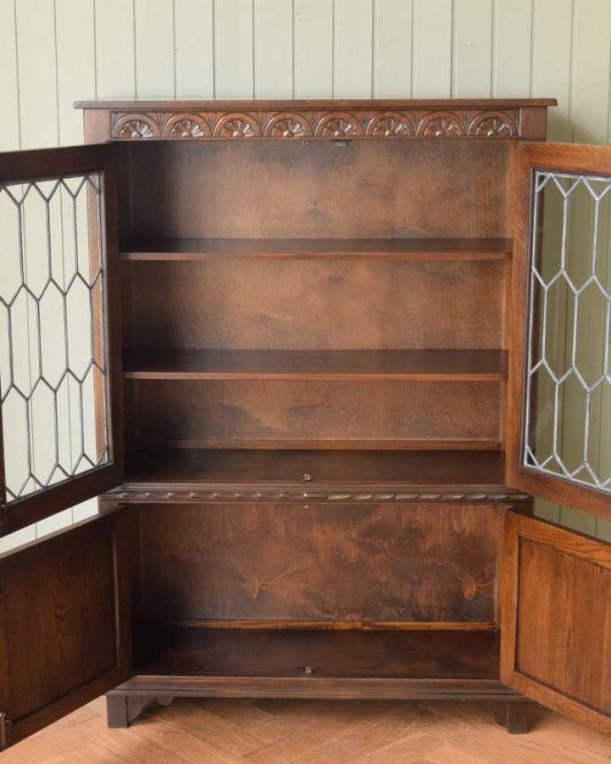 q-1622-f アンティークブックケースの扉内部