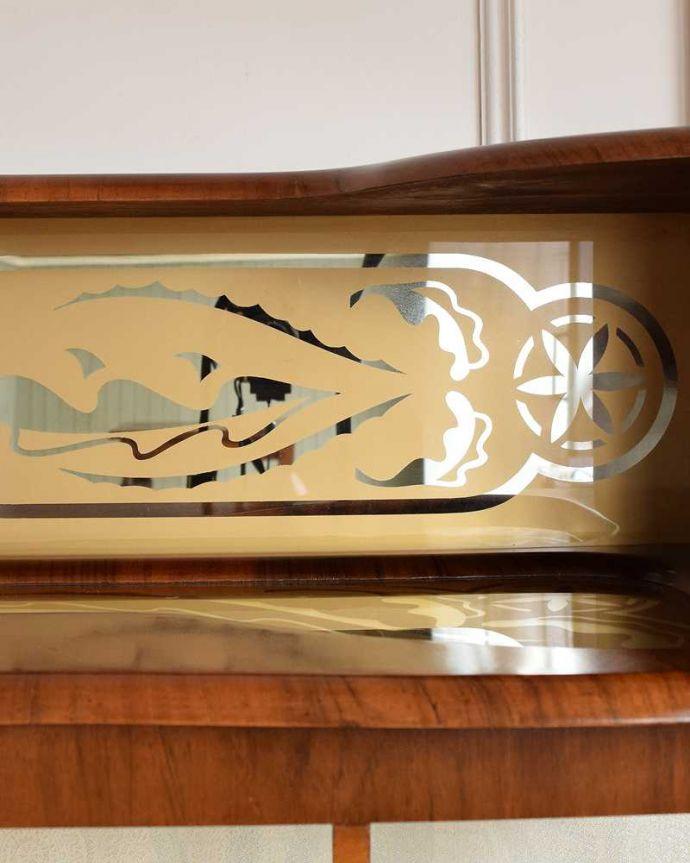 q-1626-f アンティークガラスキャビネットの背板(ミラー)装飾