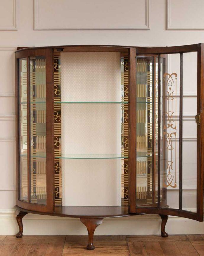 q-1630-f アンティークガラスキャビネットの扉内部