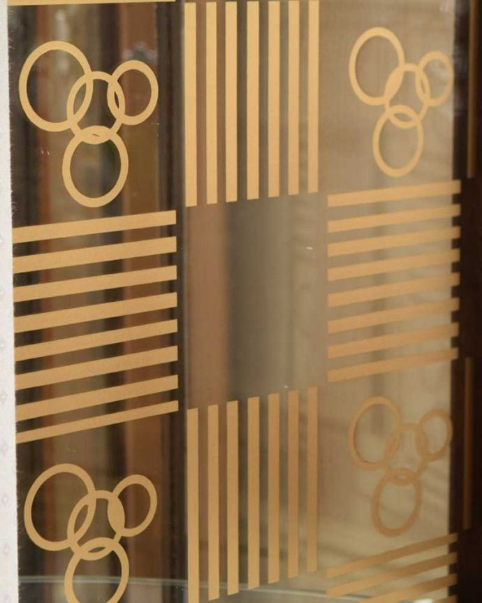 q-1630-f アンティークガラスキャビネットの背板(ミラー)装飾