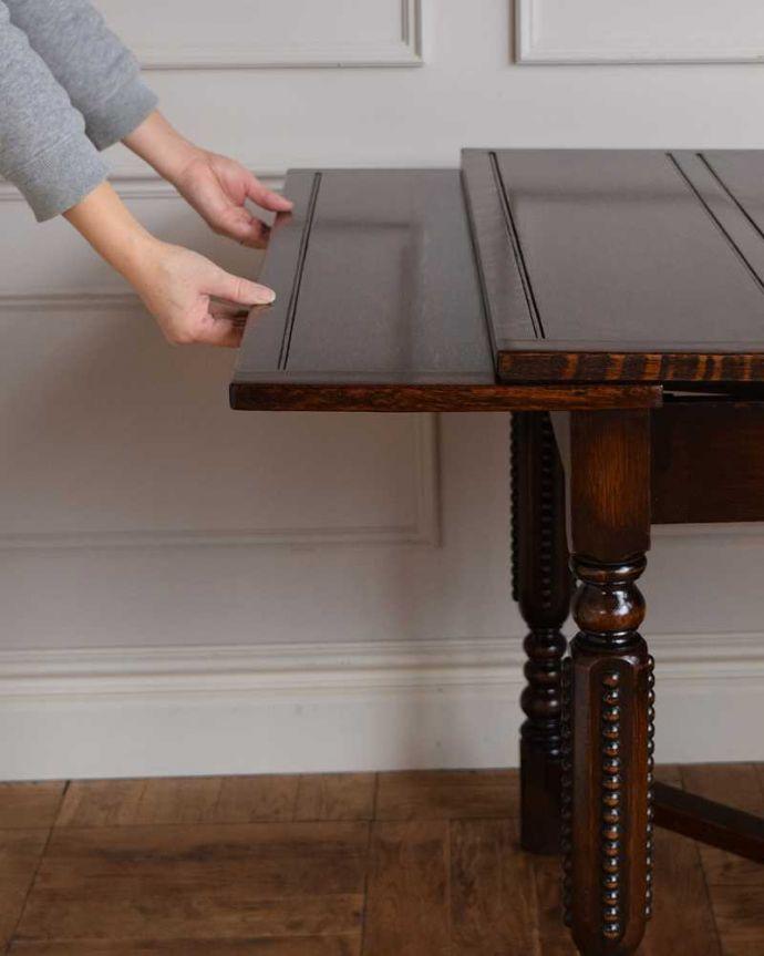 q-1671-f アンティークドローリーフテーブルの開き方
