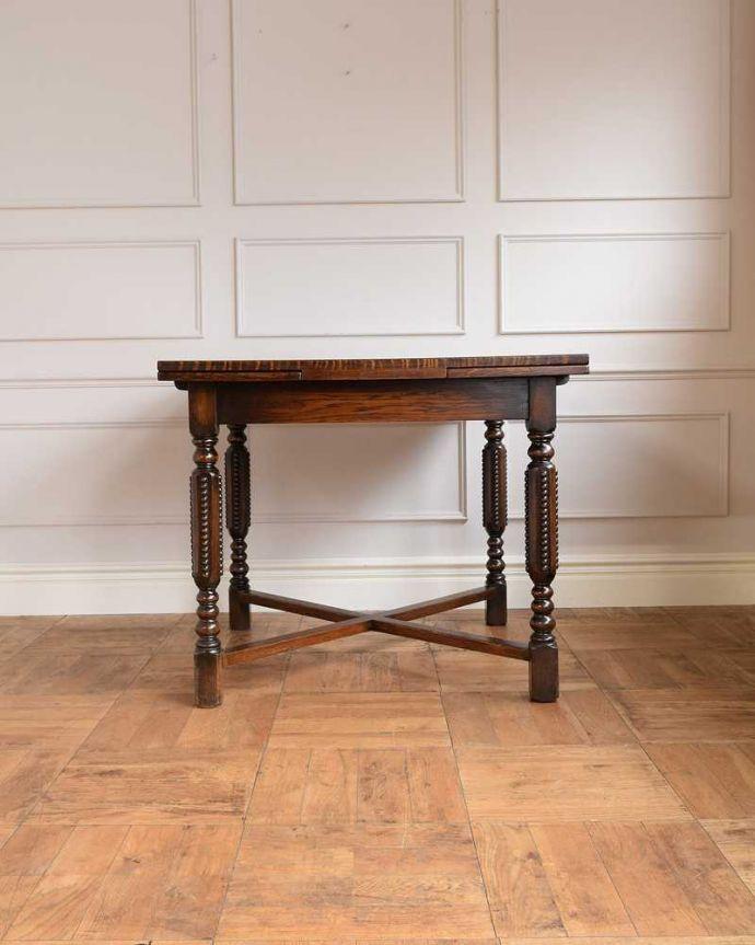 q-1671-f アンティークドローリーフテーブルの横-(天板とじて)