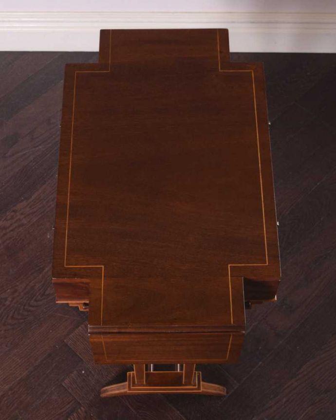 q-1722-f アンティークダイニングテーブルの天板閉じた状態