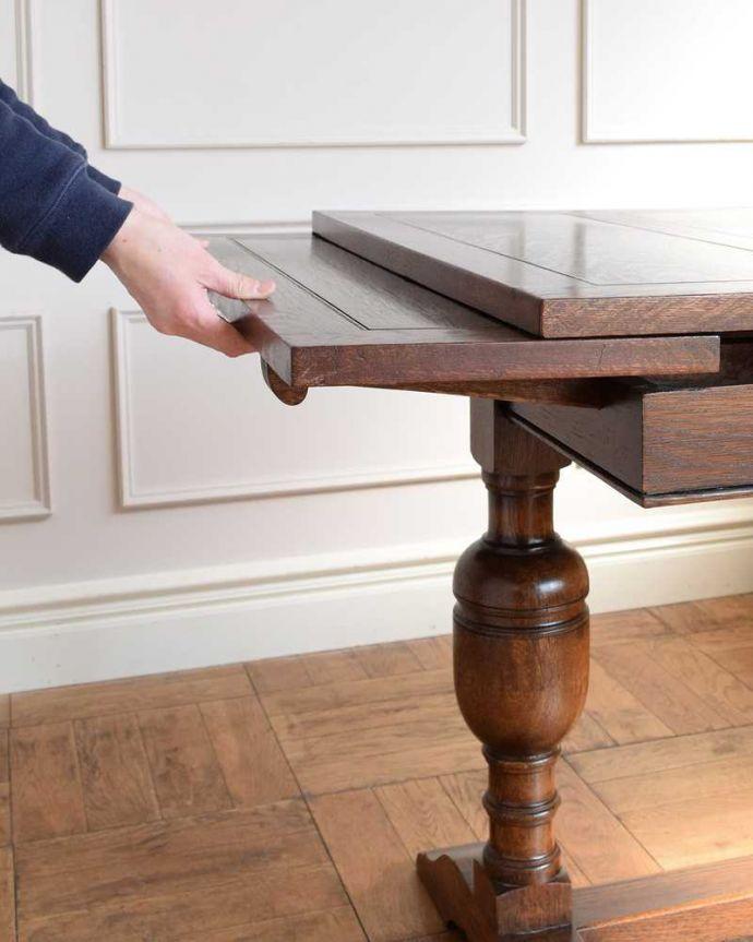 q-1742-f アンティークドローリーフテーブルの開き方