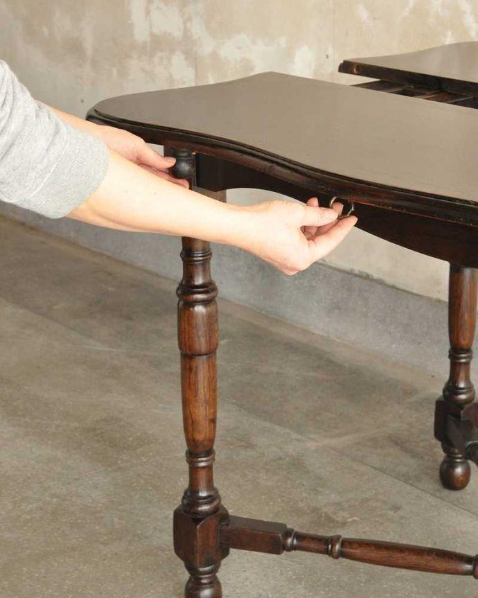 q-1754-f アンティークドローリーフテーブルの開き方
