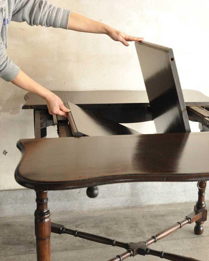 q-1754-f ビンテージダイニングテーブルの伸張方法