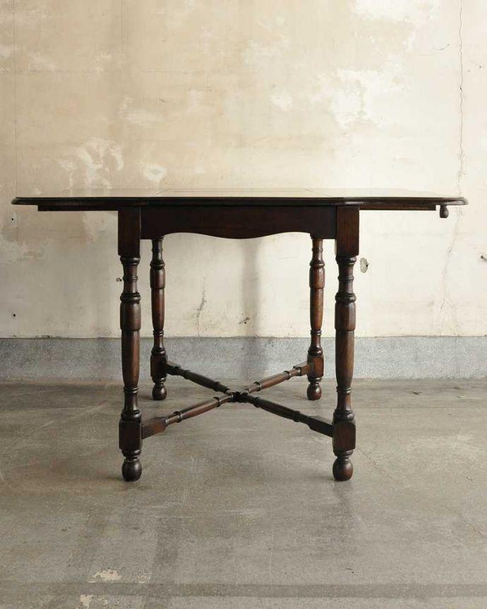 q-1754-f ビンテージダイニングテーブルの横(開いた状態)