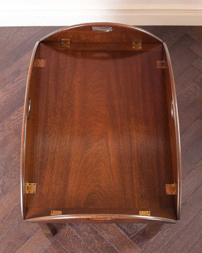 q-1773-f ヴィンテージコーヒーテーブルの天板、閉じた状態