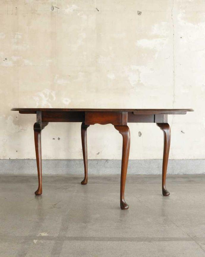 q-1780-f アンティークダイニングテーブルの横(両方広げた状態)