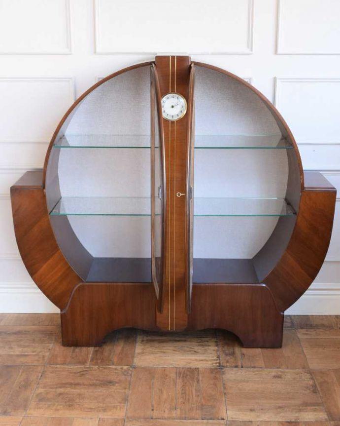 q-1841-f  アンティークガラスキャビネットの扉内部