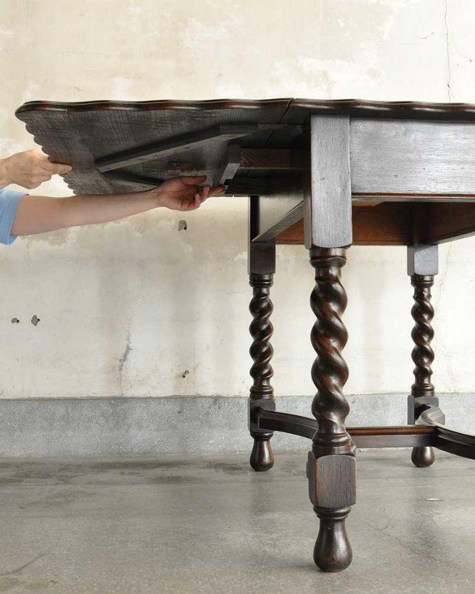 q-1904-f  アンティークゲートレッグテーブルの伸張方法