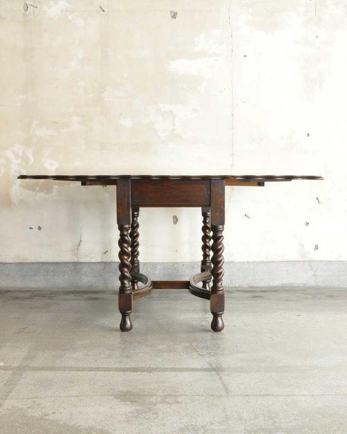 q-1904-f アンティークゲートレッグテーブルの横(両方広げた状態)