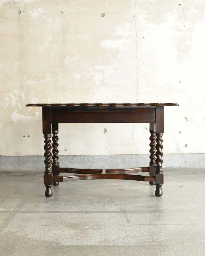 q-1904-fアンティークゲートレッグテーブルの後ろ(広げた状態)