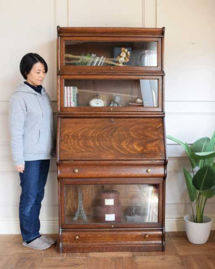 アンティークのキャビネット アンティーク家具 英国アンティークのスタッキングビューローキャビネット(デスク)。積み上げる本棚、スタッキングブックケースもともと事務機器として造られた家具。(q-1993-f)
