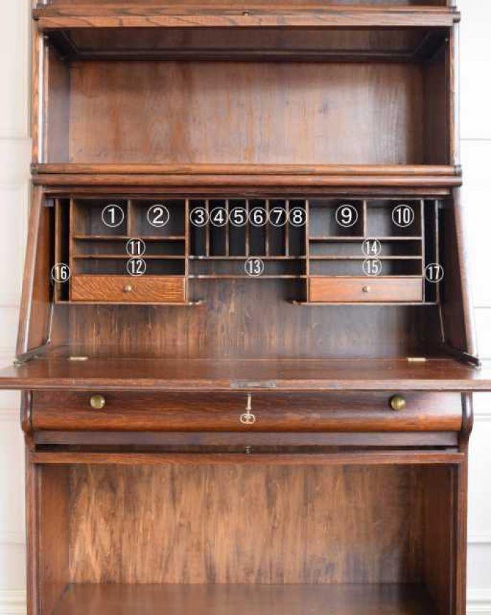 アンティークのキャビネット アンティーク家具 英国アンティークのスタッキングビューローキャビネット(デスク)。便利に使えるフラップ式の扉開けたままにしておいてもジャマにならないフラップ式の扉。(q-1993-f)