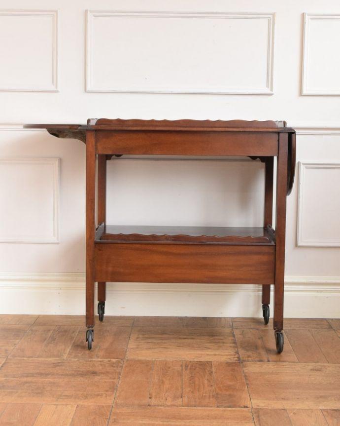 アンティークのワゴン・トローリー アンティーク家具 アンティークワゴン、サイズを変えて便利に使える家具(トロリー)(引き出し付き) 。片方開いて・・・リーフを片方だけ開いて使うことも出来ます。(q-2126-f)
