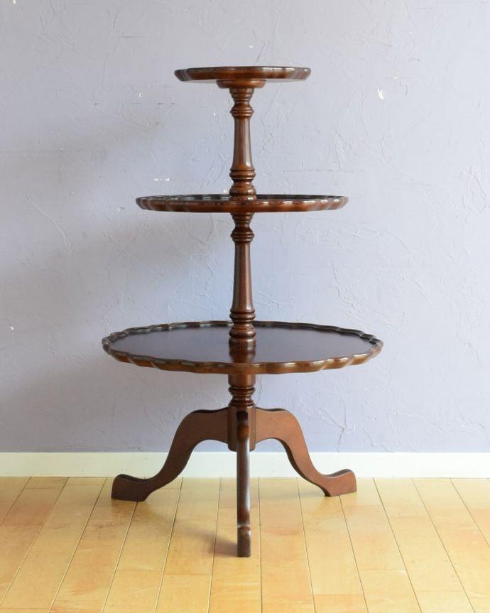 アンティークのテーブル アンティーク家具 ダムウェイターテーブル クルッと回転。(q-2252-f)