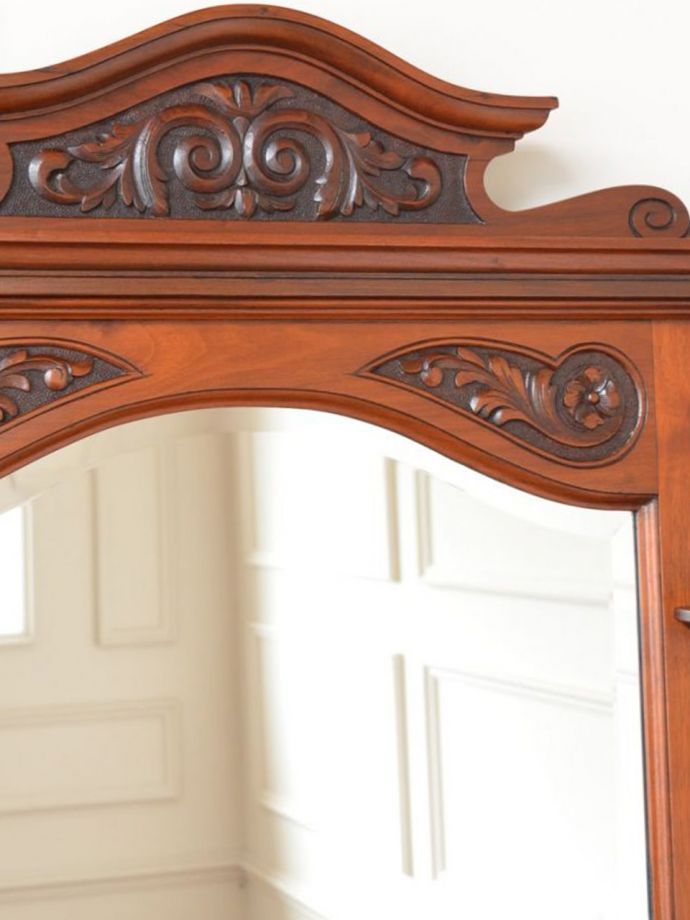 アンティークのキャビネット アンティーク家具 ウォッシュスタンド 新しいミラーでお届けしますこちらは新しいミラーに交換しました。(q-2307-f)