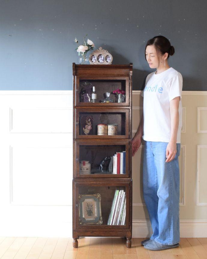 アンティークのキャビネット アンティーク家具 スタッキングブックケース 積み上げる本棚、スタッキングブックケースもともと事務機器として造られた家具。(q-2318-f)