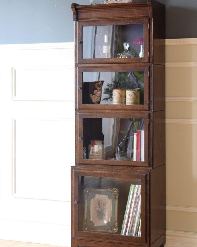 アンティークのキャビネット アンティーク家具 スタッキングブックケース ガラス越しに中をのぞいてみると・・・こんなにおしゃれな家具が事務機器だったなんて考えられないくらい。(q-2318-f)
