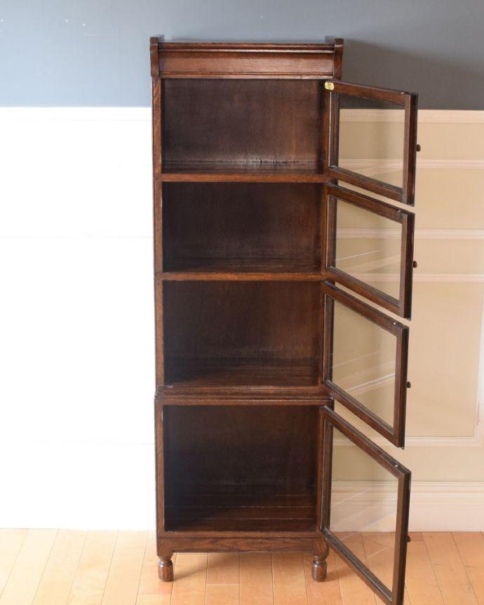 アンティークのキャビネット アンティーク家具 スタッキングブックケース 便利に使えるフラップ式の扉開けたままにしておいてもジャマにならないフラップ式の扉。(q-2318-f)