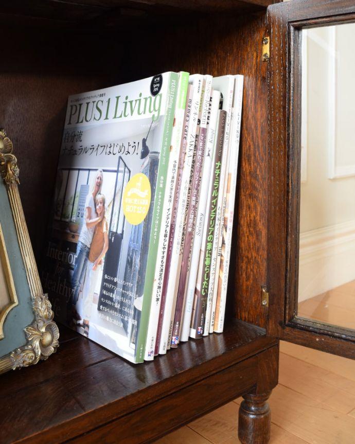 アンティークのキャビネット アンティーク家具 スタッキングブックケース 扉の中は収納たっぷりA4サイズの雑誌までしっかり収納出来ちゃう大きさ。(q-2318-f)