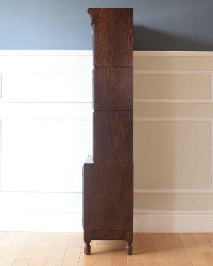 アンティークのキャビネット アンティーク家具 スタッキングブックケース 横から見ると・・・横から見るとこんな感じ。(q-2318-f)