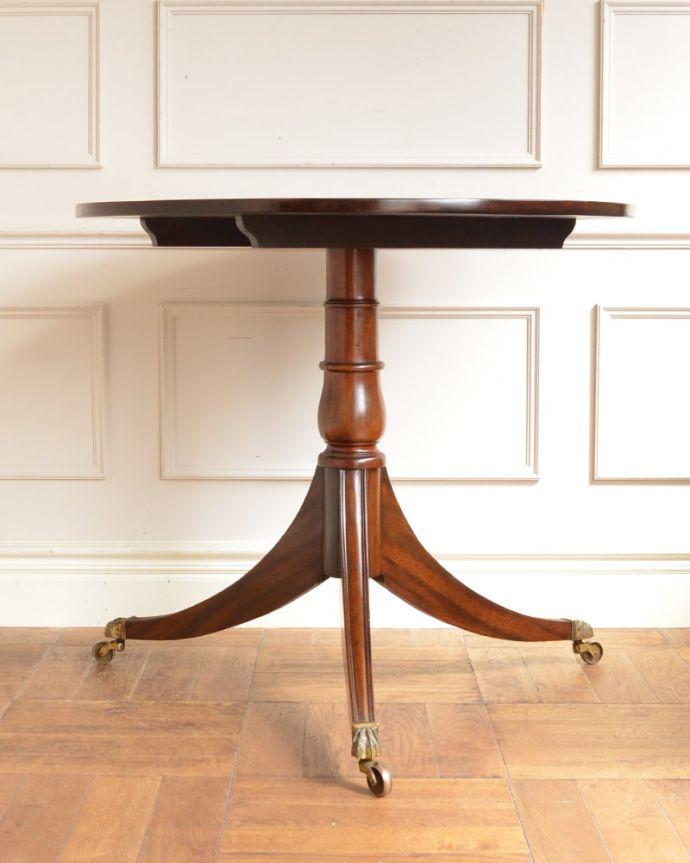 アンティークのテーブル アンティーク家具 ティーテーブル クルッと回転。(q-2321-f)