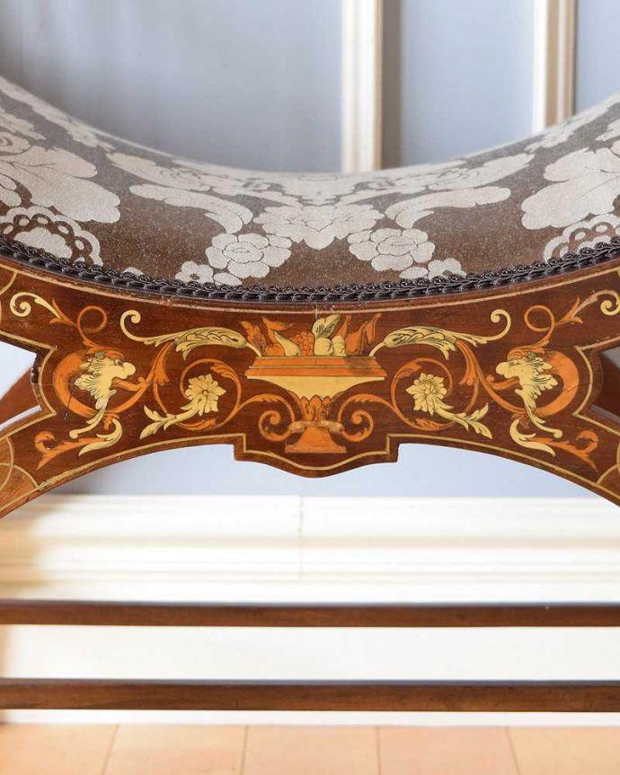 q-274-c アンティークスツールの象嵌装飾