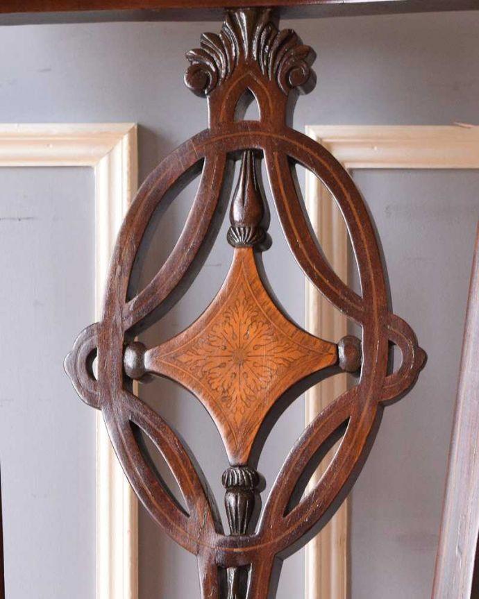 q-306-c アンティークサロンアームチェアの背もたれの象嵌
