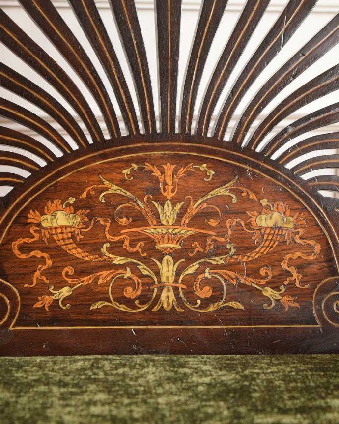 セティ・ソファ・ベンチ アンティーク チェア 象嵌も装飾も施された究極に美しいイギリスアンティークの椅子(セティ)。美しさの極みを堪能して下さい高級材で描かれた美しく柔らかなフォルム。(q-326-c)