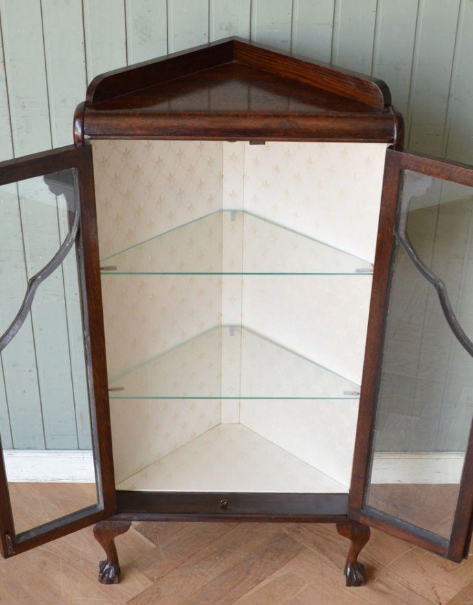 q-474-f-1 アンティークコーナーガラスキャビネットの棚板