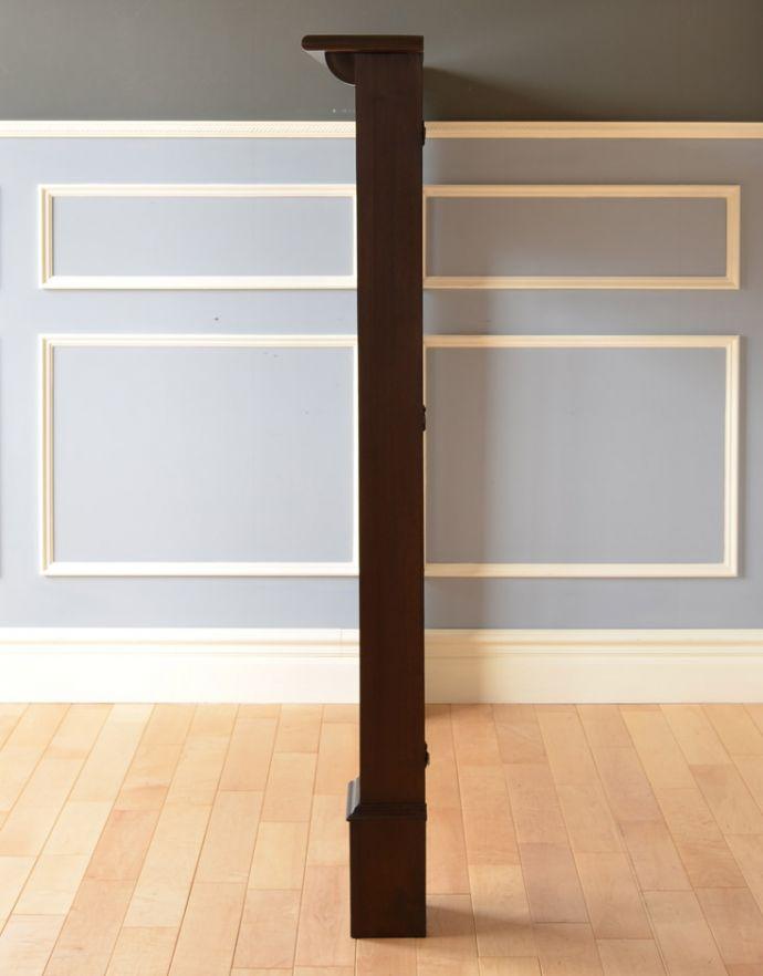 めずらしい家具 アンティーク家具 英国のアンティーク家具、マホガニー材のマントルピース(暖炉枠)。横から見るとこんな感じ。(q-622-f)