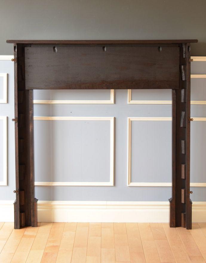 めずらしい家具 アンティーク家具 英国のアンティーク家具、マホガニー材のマントルピース(暖炉枠)。きちんとメンテナンスしてあるので、裏側もキレイです。(q-622-f)