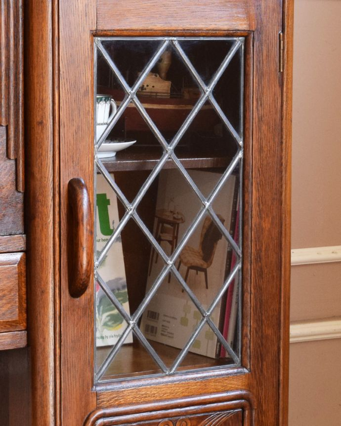 q-845-f アンティークサイドバイサイド(本棚とビューロー)のガラス