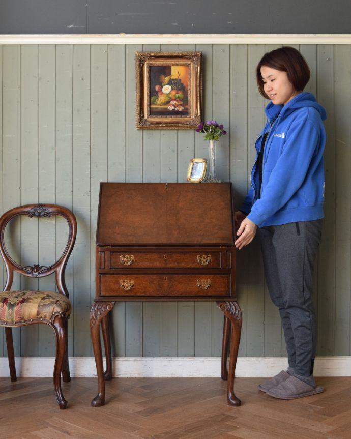 q-846-f アンティークライディングビューロー(デスク) イギリスの家具のモデル入り