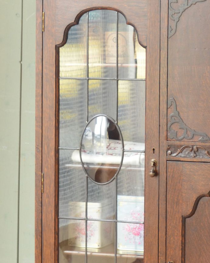 q-861-f アンティークサイドバイサイド(本棚&デスク)のガラス