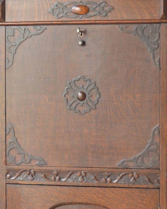 q-861-f アンティークサイドバイサイド(本棚&デスク)の彫り