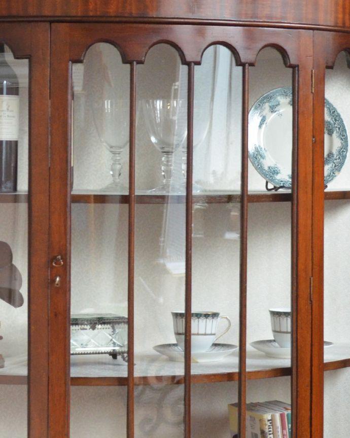 q-864-f アンティークガラスキャビネットのガラス