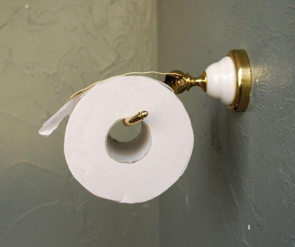 洗面・トイレ 住宅用パーツ 陶器×真鍮ペーパーホルダー (ゴールド)。ワンランク上のパウダールームを演出してくれます。(sa-220)