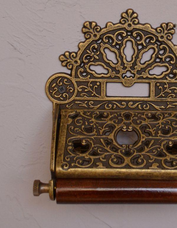洗面・トイレ 住宅用パーツ 真鍮製クラシカルなペーパーホルダー(アンティーク色)。磨き上げた真鍮にアンティーク加工を施した逸品です。(sa-238)