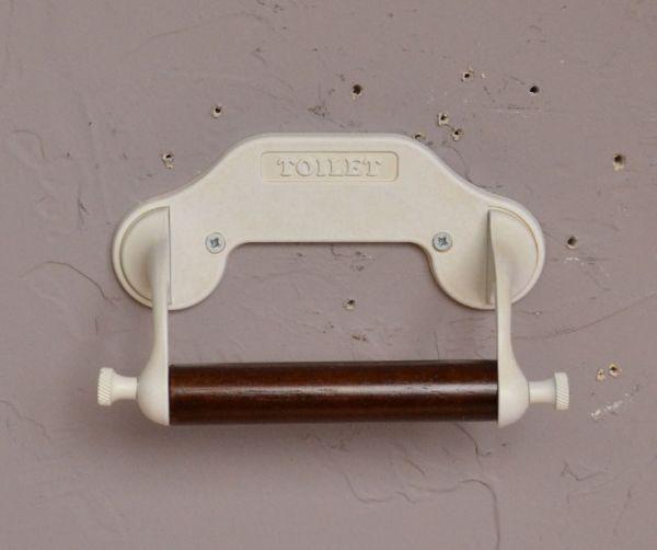 洗面・トイレ 住宅用パーツ レトロなデザイン、無垢材の真鍮製ペーパーホルダー(アンティークホワイト)フタ無し。お洒落なサニタリーを演出してくれるアイテムです。(sa-245)