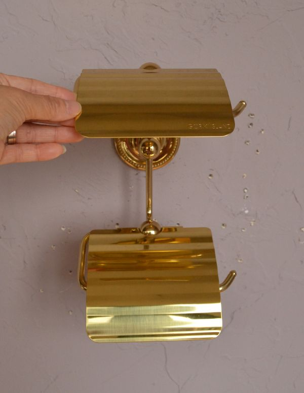 sa-249 真鍮ペーパーホルダー(ツイン・ゴールド色)のアップ