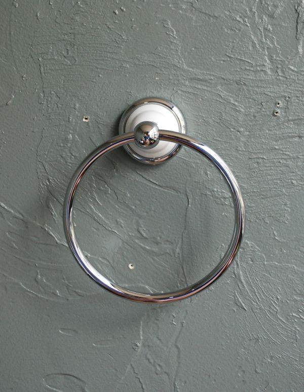 sa-419 真鍮タオルリング(シルバー)のアップ