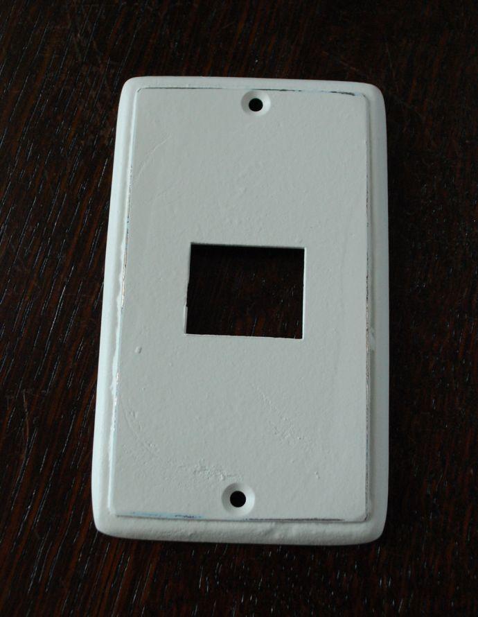 スイッチ・スイッチカバー 住宅用パーツ ナチュラルでシンプルな真鍮スイッチカバー(ホワイト・シングルタイプ)。真鍮の白染めです。(sc-01-a)