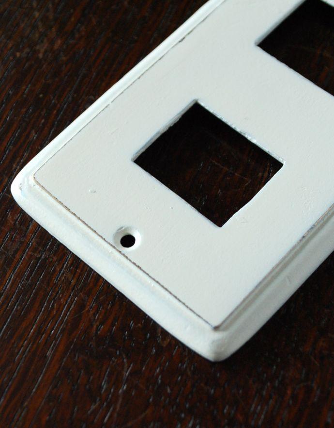 スイッチ・スイッチカバー 住宅用パーツ ナチュラルでシンプルな真鍮スイッチカバー(ホワイト・ダブルタイプ)。※ネジもセットでお届けします。(sc-01-b)