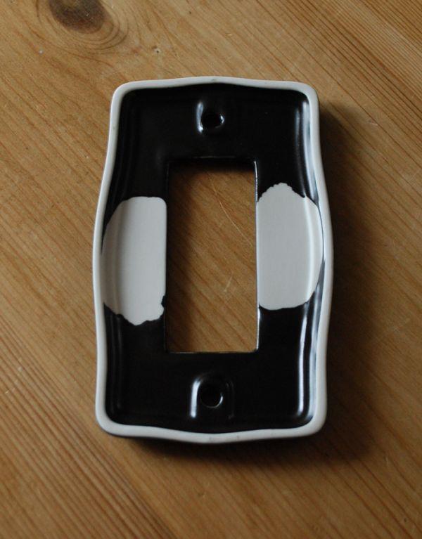 スイッチ・スイッチカバー 住宅用パーツ 陶器製スイッチプレート/黒マット(3スイッチタイプ)電気スイッチ。※ワイドスイッチには対応していません。(sc-19-c)