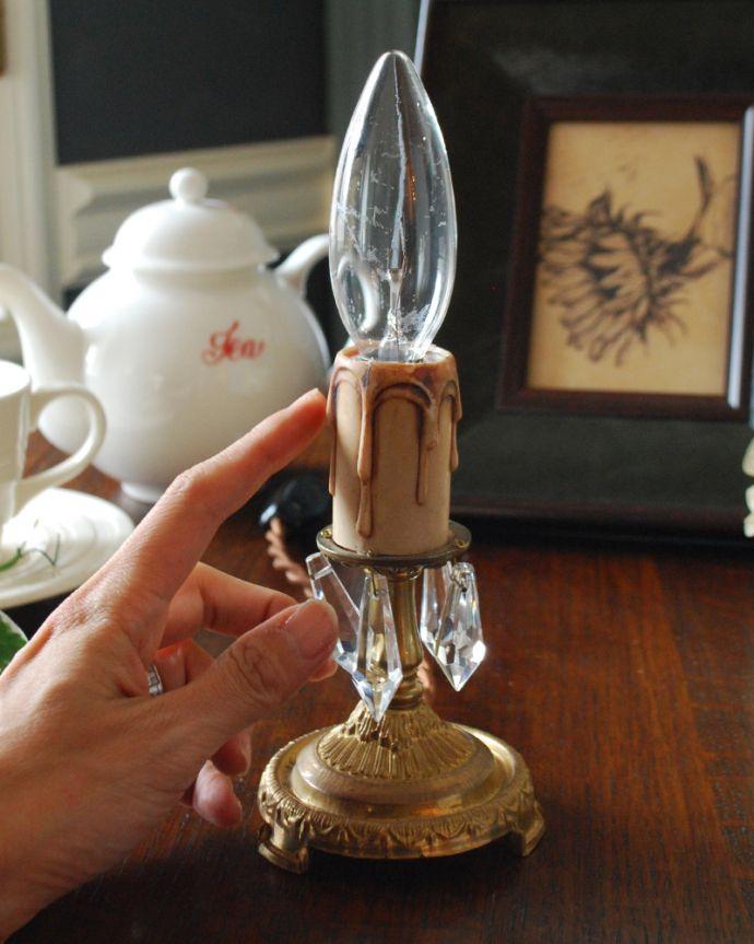 Handleオリジナル 照明・ライティング Handleオリジナルのテーブルシャンデリア(ゴールド色・M・ガラス)(E17シャンデリア球付)。LEDも使えます口金は100Wまで対応可能ですが、蝋管付きなので白熱球は40W以下がオススメです。(sgl-07)