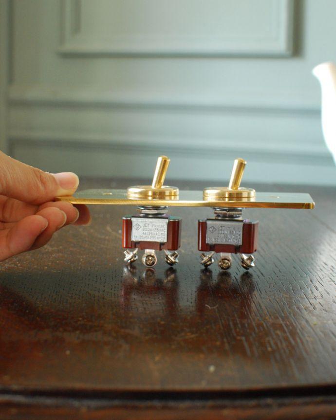 スイッチ・スイッチカバー 住宅用パーツ 真鍮プレート2スイッチ(ダブルスイッチ)。スイッチをカチカチするのが楽しくなりますよ!。(sw-09)
